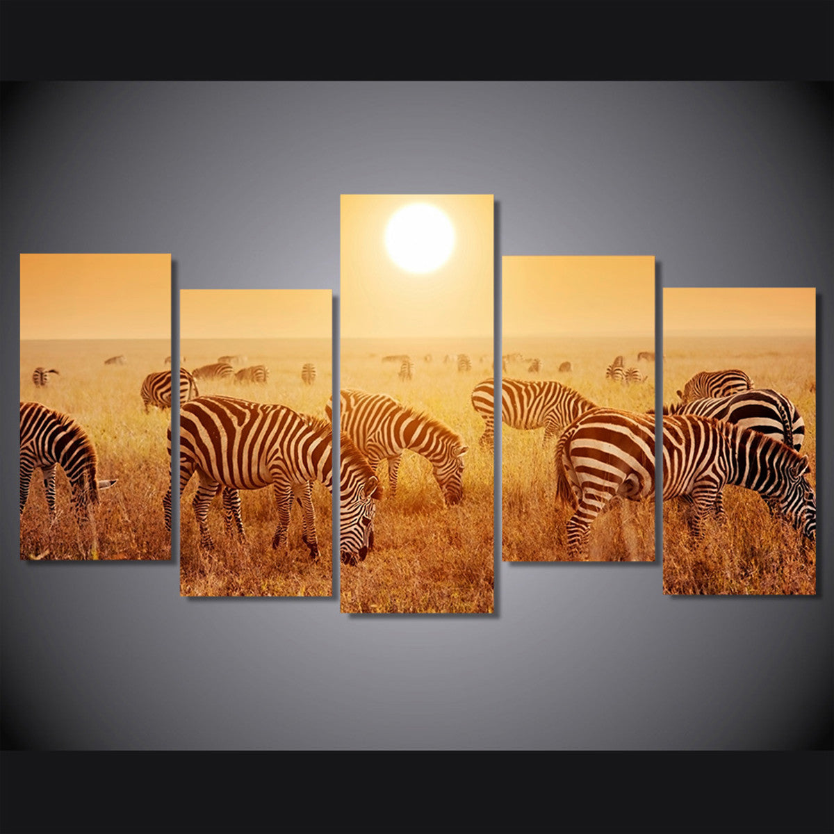 Zebras in Safari 5 Piece Canvas
