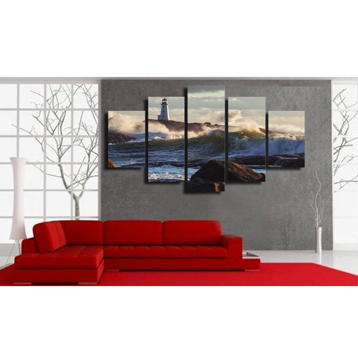 Lighthouse Waves 5 Piece Canvas