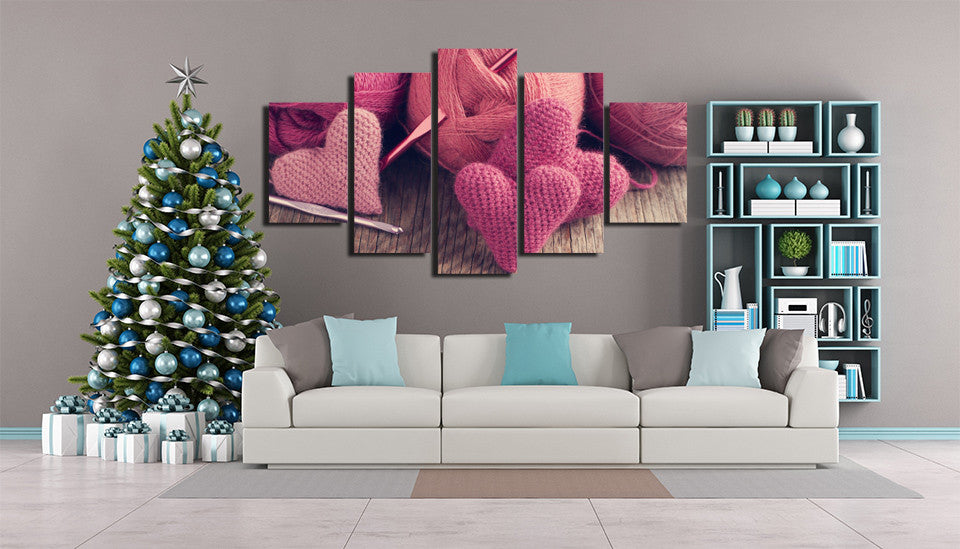 Knitted Hearts 5 Piece Canvas