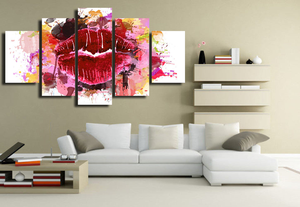Red Lips 5 Piece Canvas