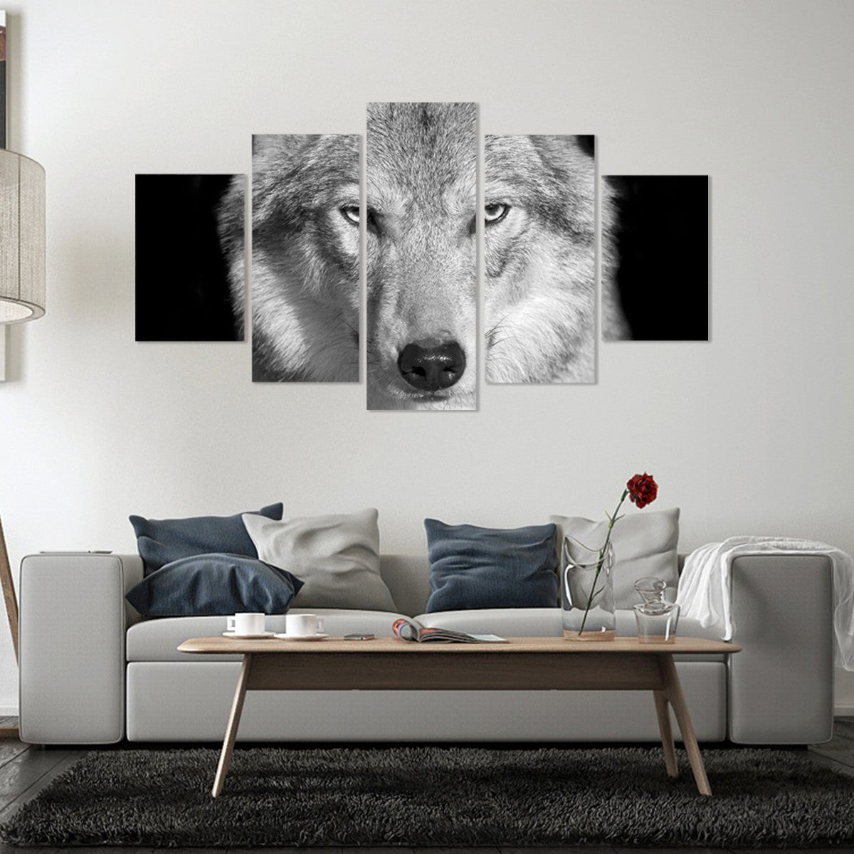 Gray Wolf 5 Piece Canvas