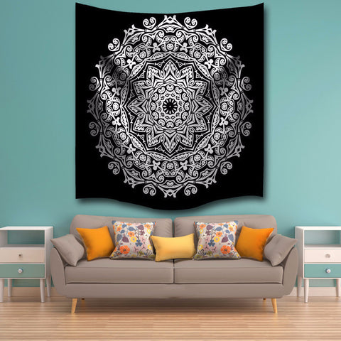 Black and White Fan Tapestry