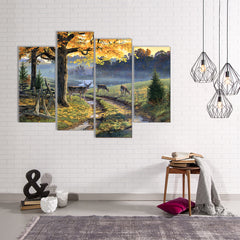 Deer Contemplation 5 Piece Canvas