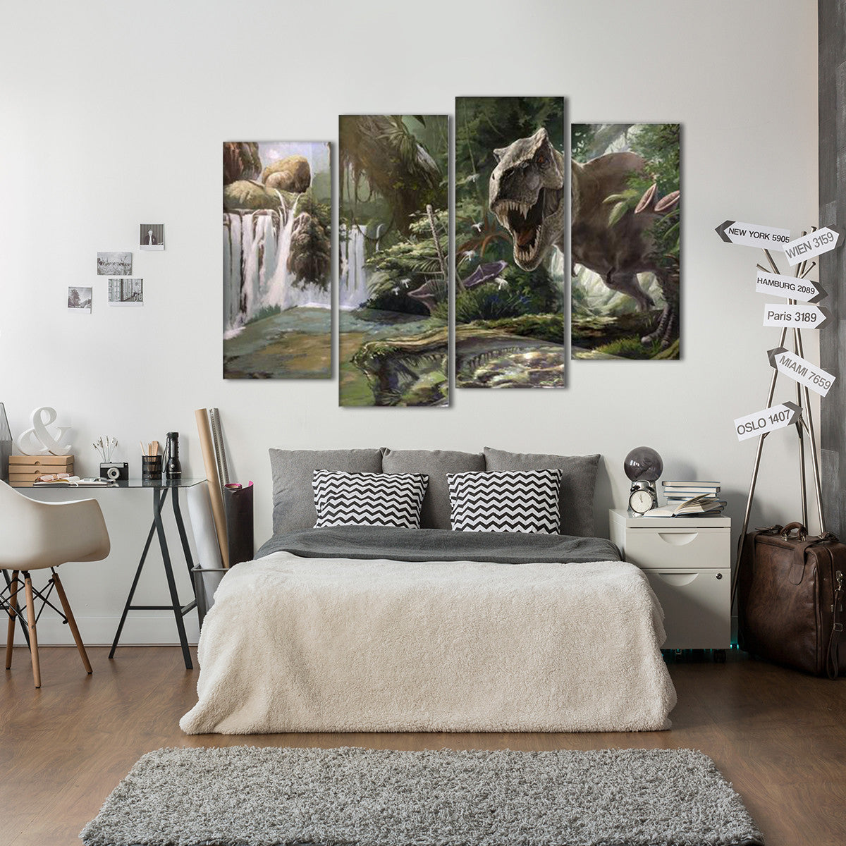 Dinosaur Jungle 4 Piece Canvas