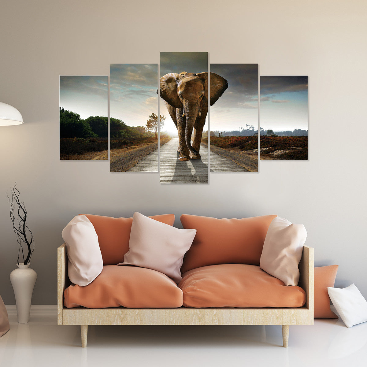Limited Edition Elephant Freedom 5 Piece Canvas