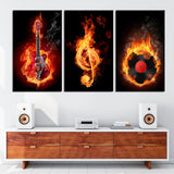 Limited Edition Fiery Music 3 Piece Canvas