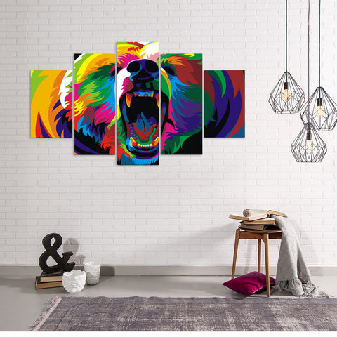 Limited Edition Colorful Tiger 5 Piece Canvas