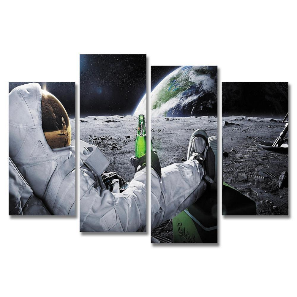 Astronaut Drink 4 Piece Canvas