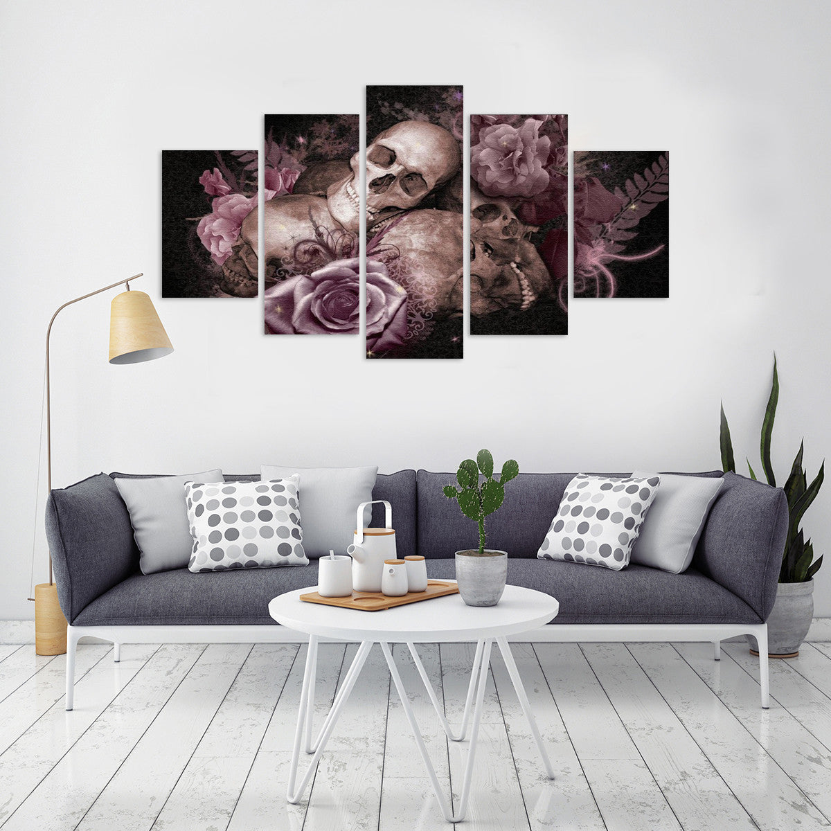 Skulls and Flowers 5 Piece Canvas