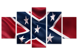 Confederate Flag 5 Piece Canvas