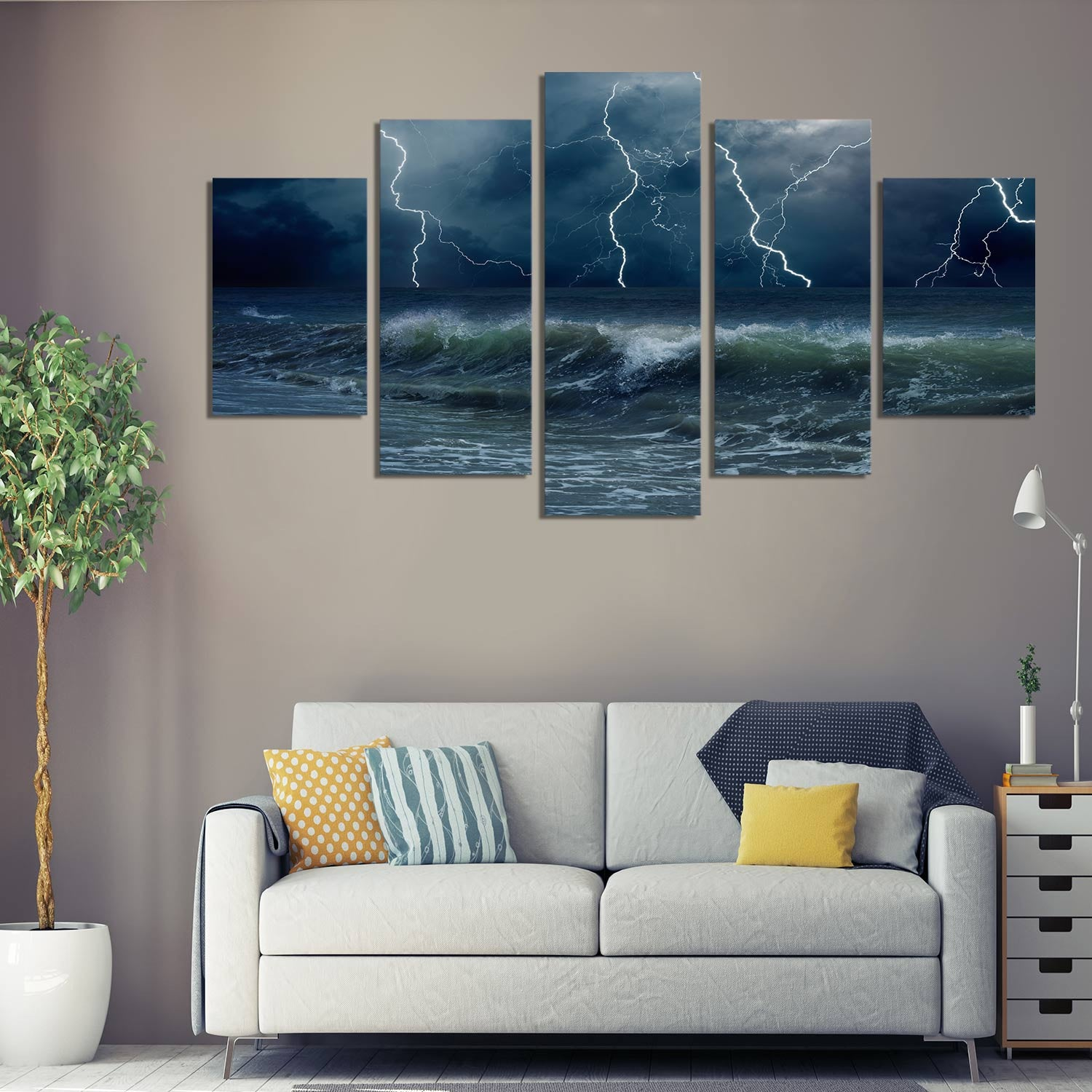 Lightning Drama 5 Piece Canvas