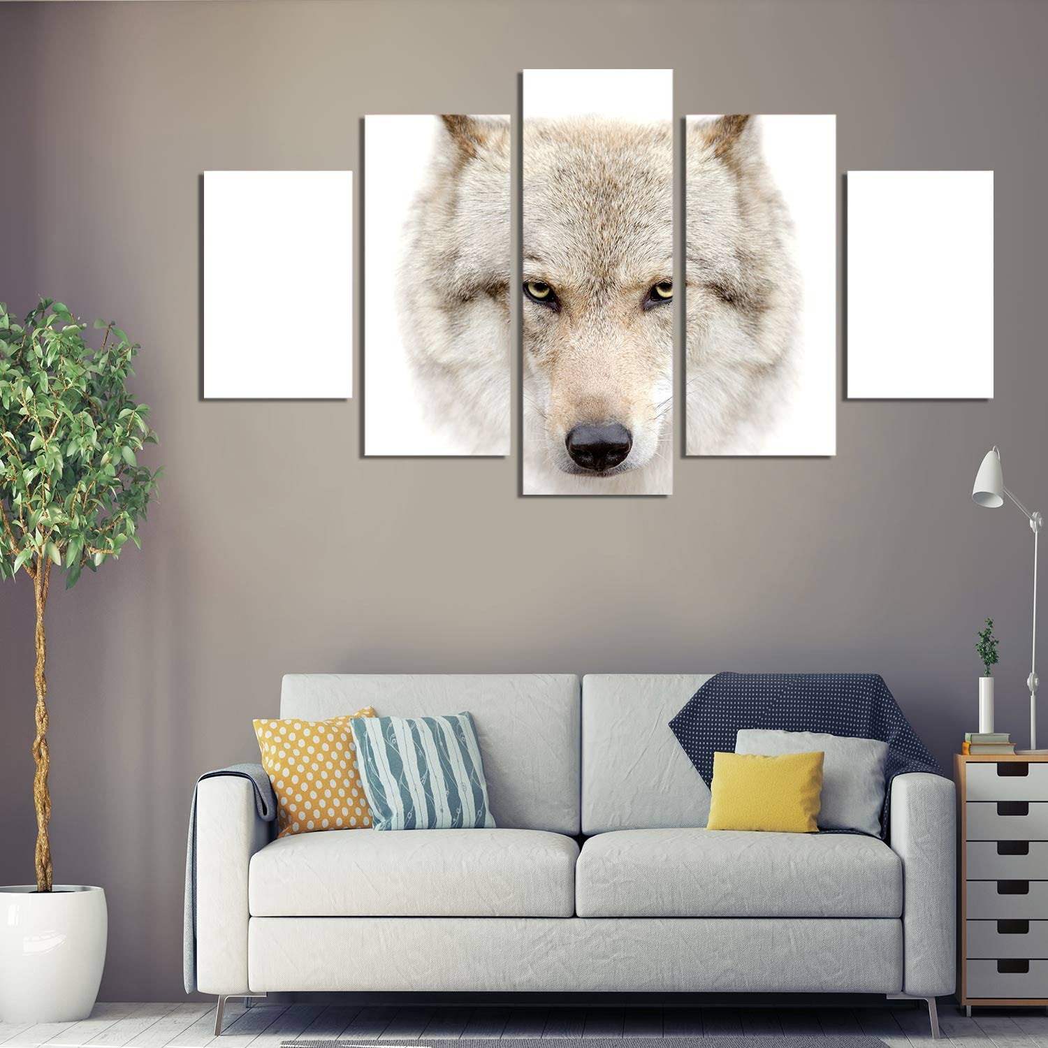 Wolf Face 5 Piece Canvas