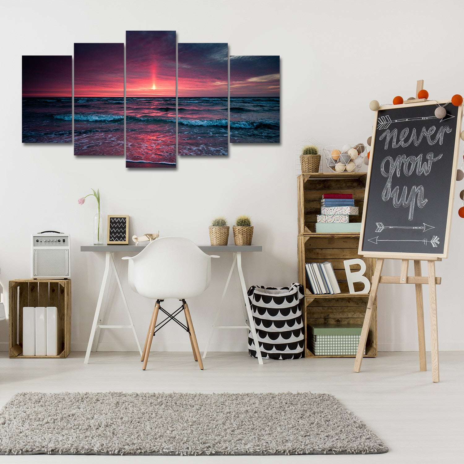 Red Sun 5 Piece Canvas