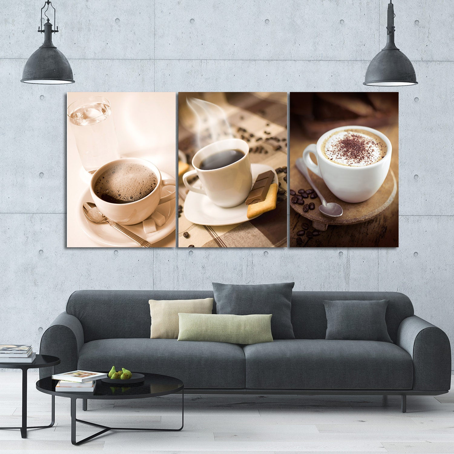 Coffee Drink 3 Piece Canvas