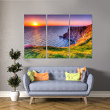 Cliff Sunset 3 Piece Canvas