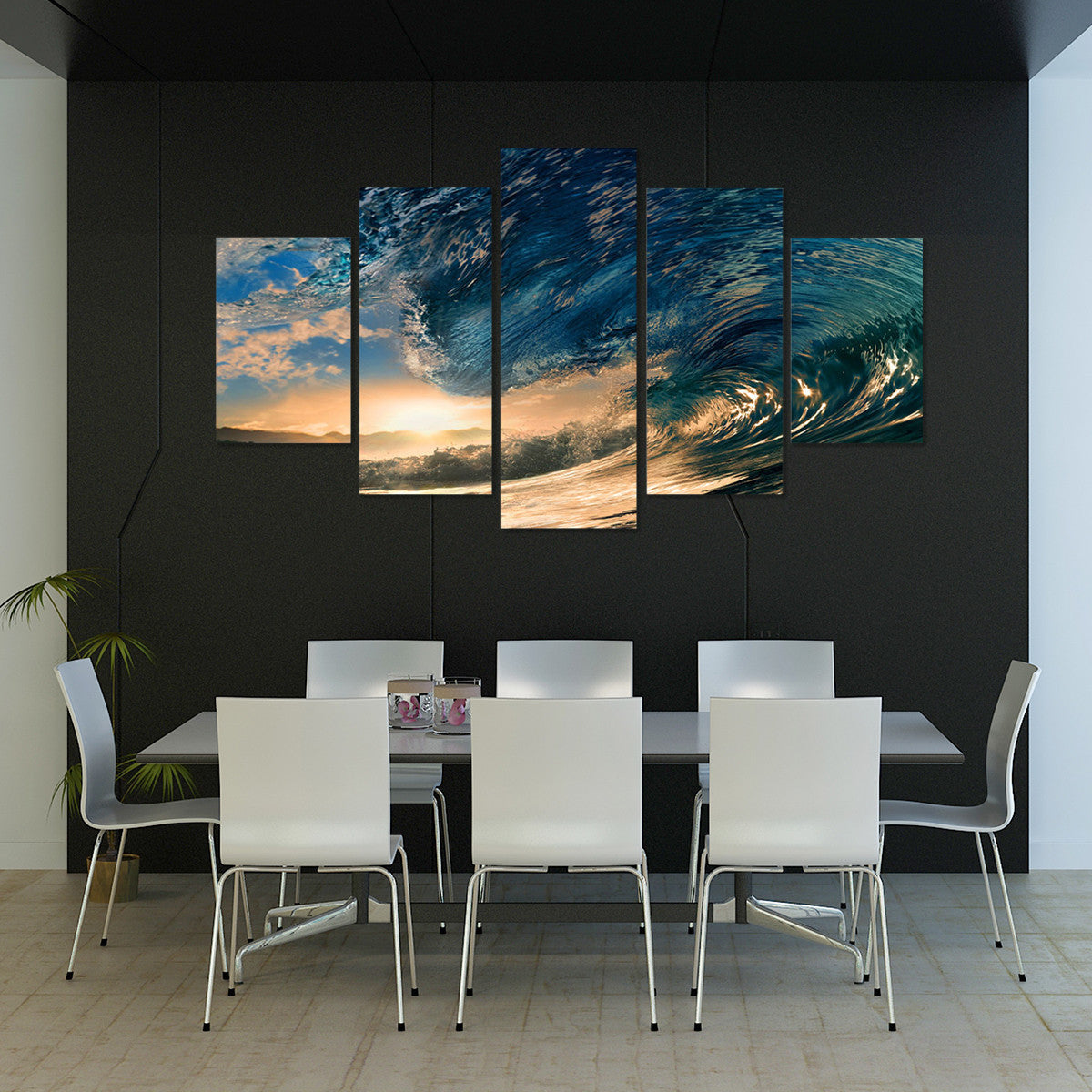 Rolling Waves Flipped  5 Piece Canvas