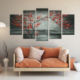 Red Blossom 5 Piece Canvas