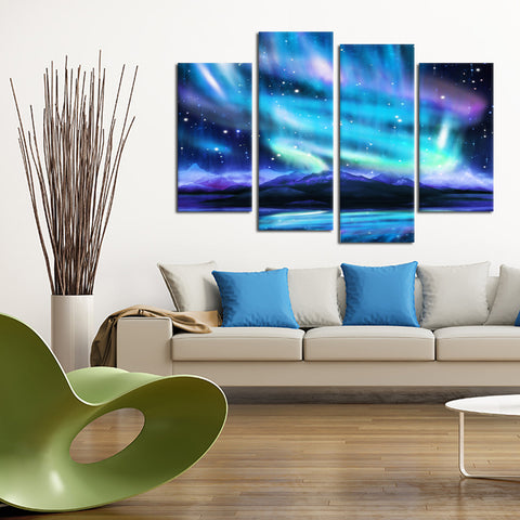 Blue Aurora 4 Piece Canvas