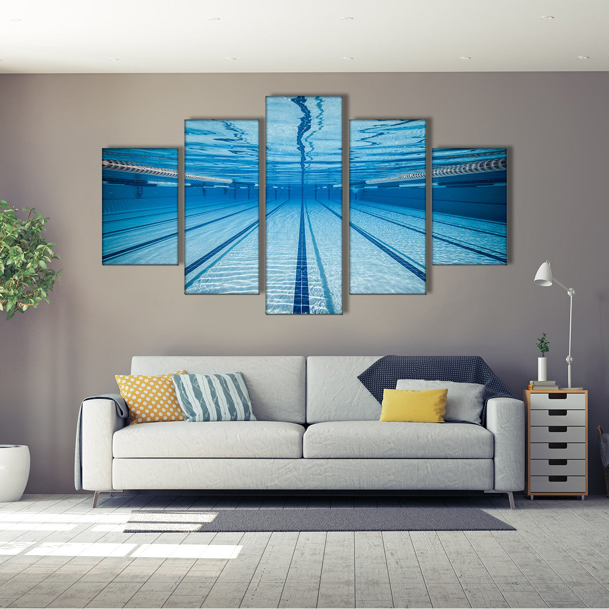 Swimming Straight 5 Piece Canvas