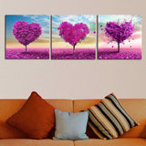 Purple Hearts 3 Piece Canvas