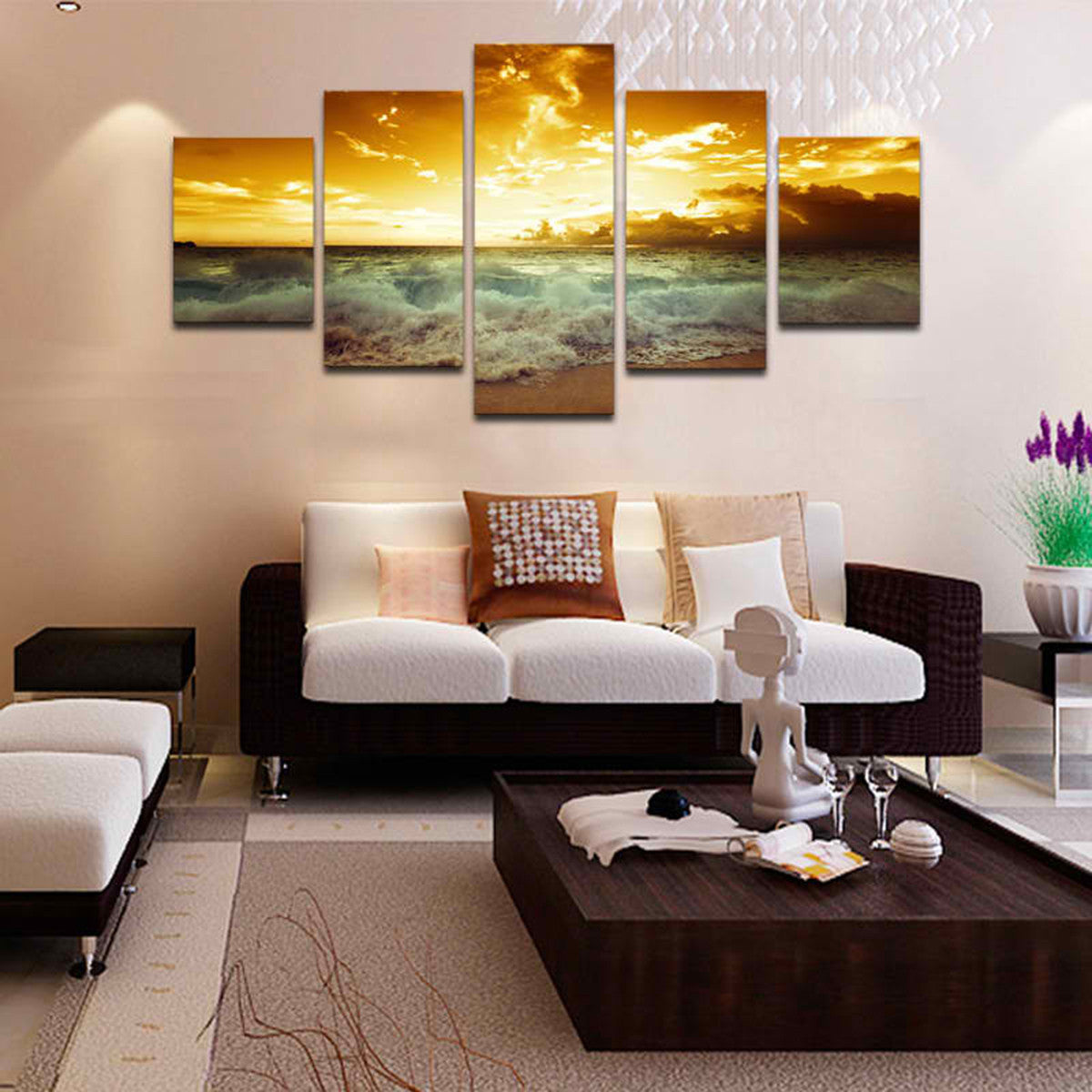 Beach Sunset 5 Piece Canvas