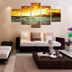 Sunset Heart 5 Piece Canvas