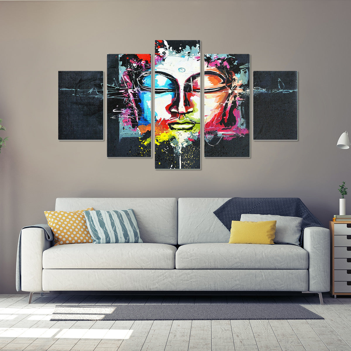 Limited Edition Buddha Ponder 5 Piece Canvas