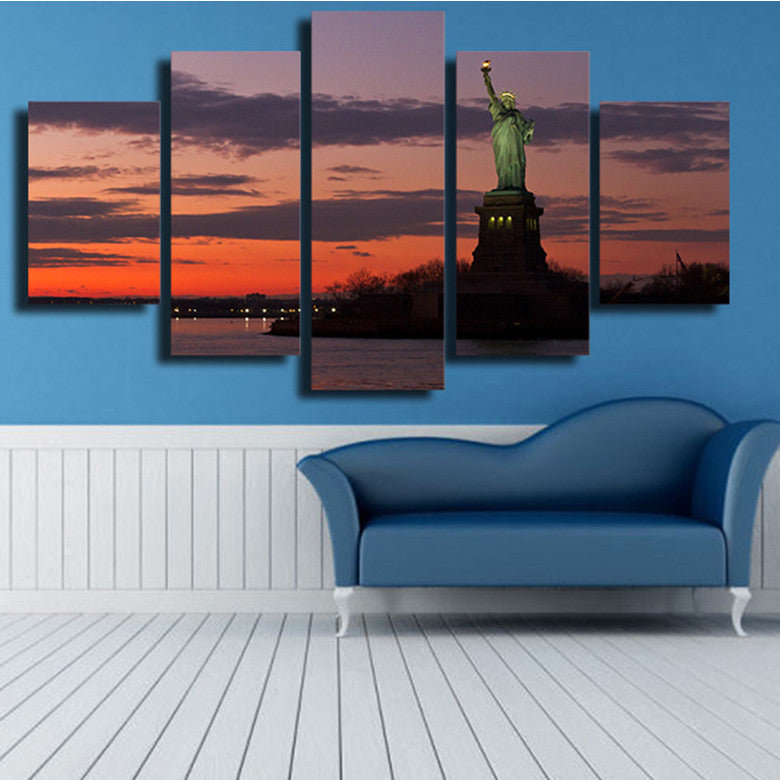 Statue of Liberty Sunset 5 Piece Canvas