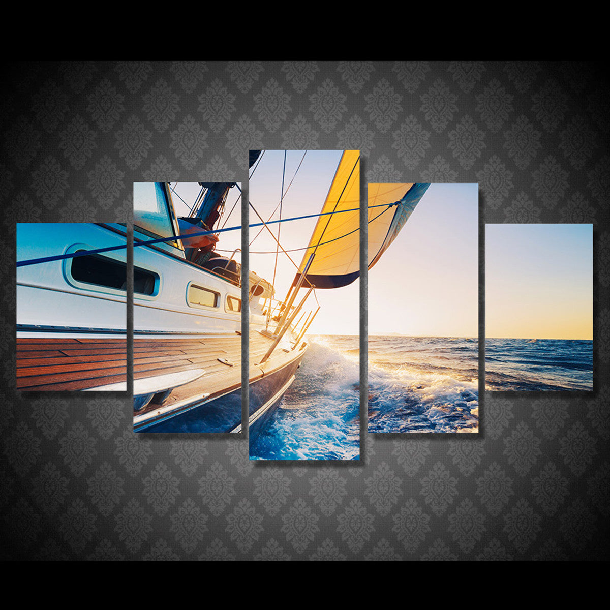 Yacht Sailing 5 Piece Canvas