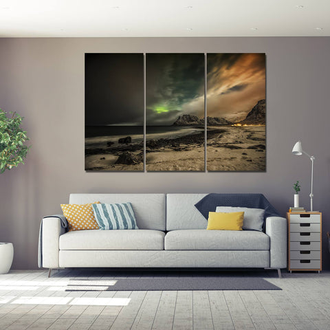 Flat Earth Map 3 Piece Canvas
