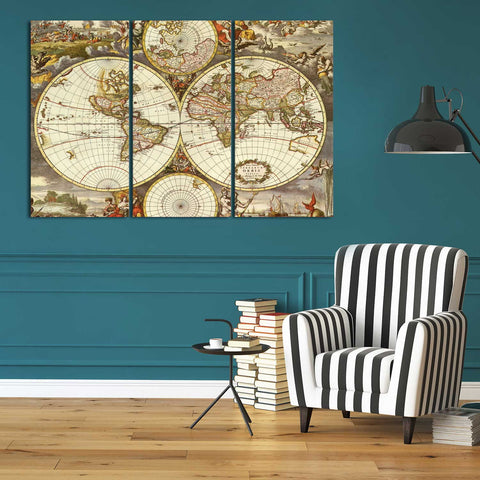 Vintage Blue Map 3 Piece Canvas
