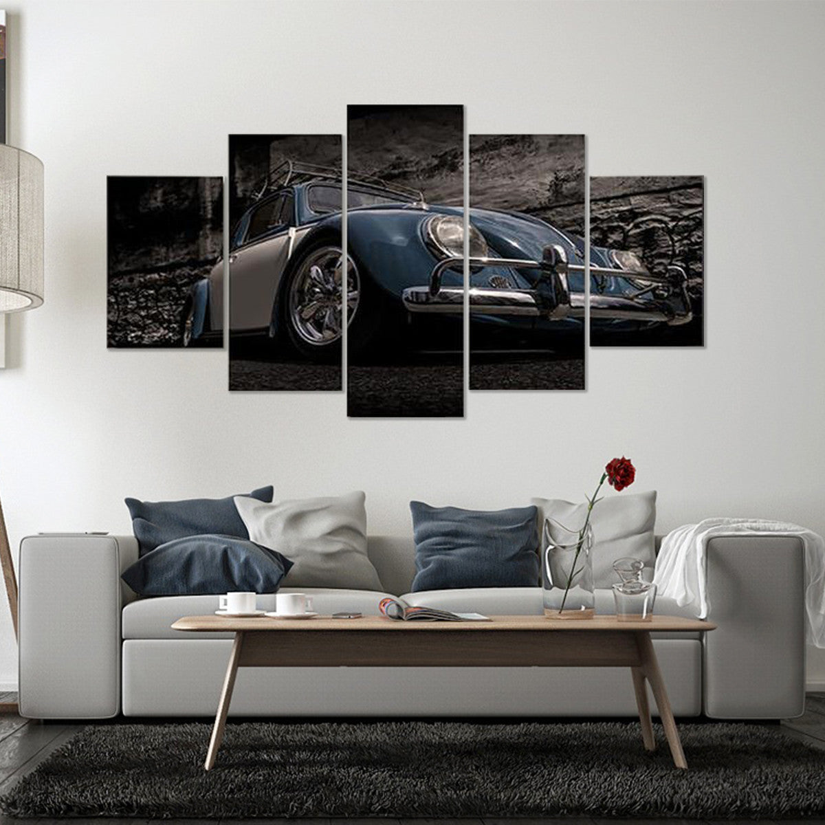 Vintage Dark Blue Car 5 Piece Canvas