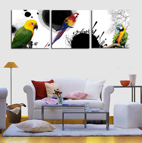 Colorful Parrots 3 Piece Canvas