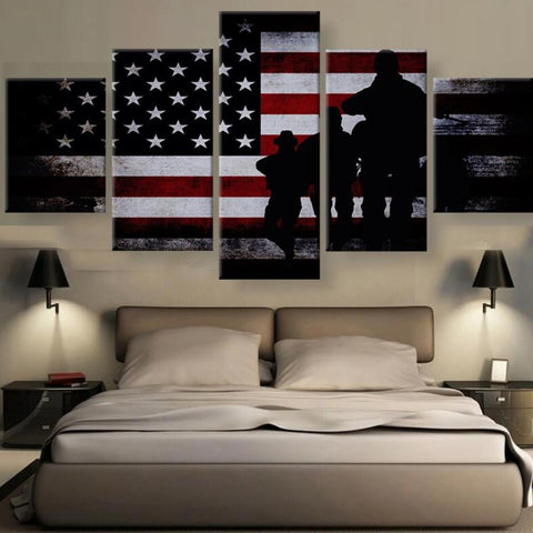 Bright Eagle Flag 5 Piece Canvas