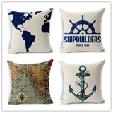 World Map Printed Pillows