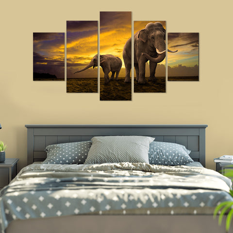 Limited Edition Elephant Bath 5 Piece Canvas