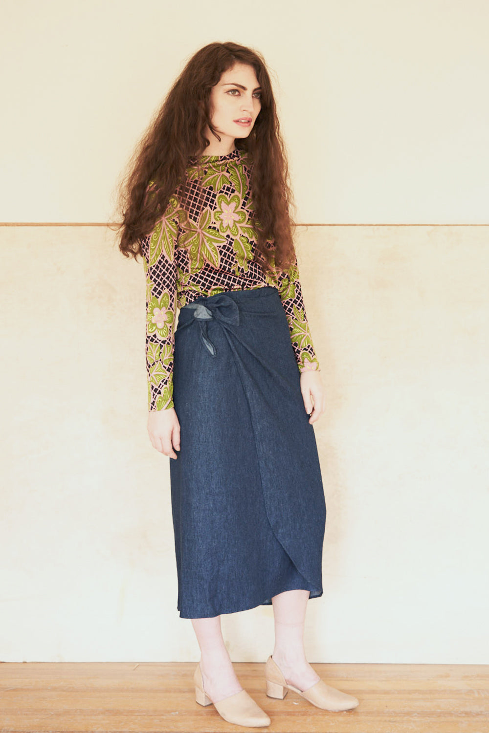 Elise Ballegeer Sustainable Hemp and Organic Cotton Denim Wrap Skirt