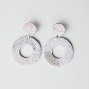 Elise Ballegeer Lilly Earrings in Arctic Rose (White and Pink Speckled)