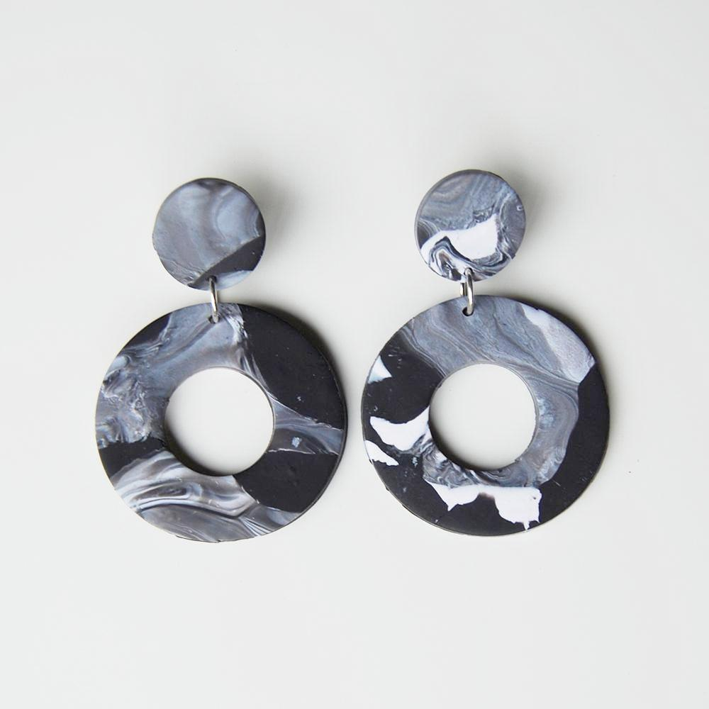 Elise Ballegeer Lilly Earrings in Onyx (Black and White)