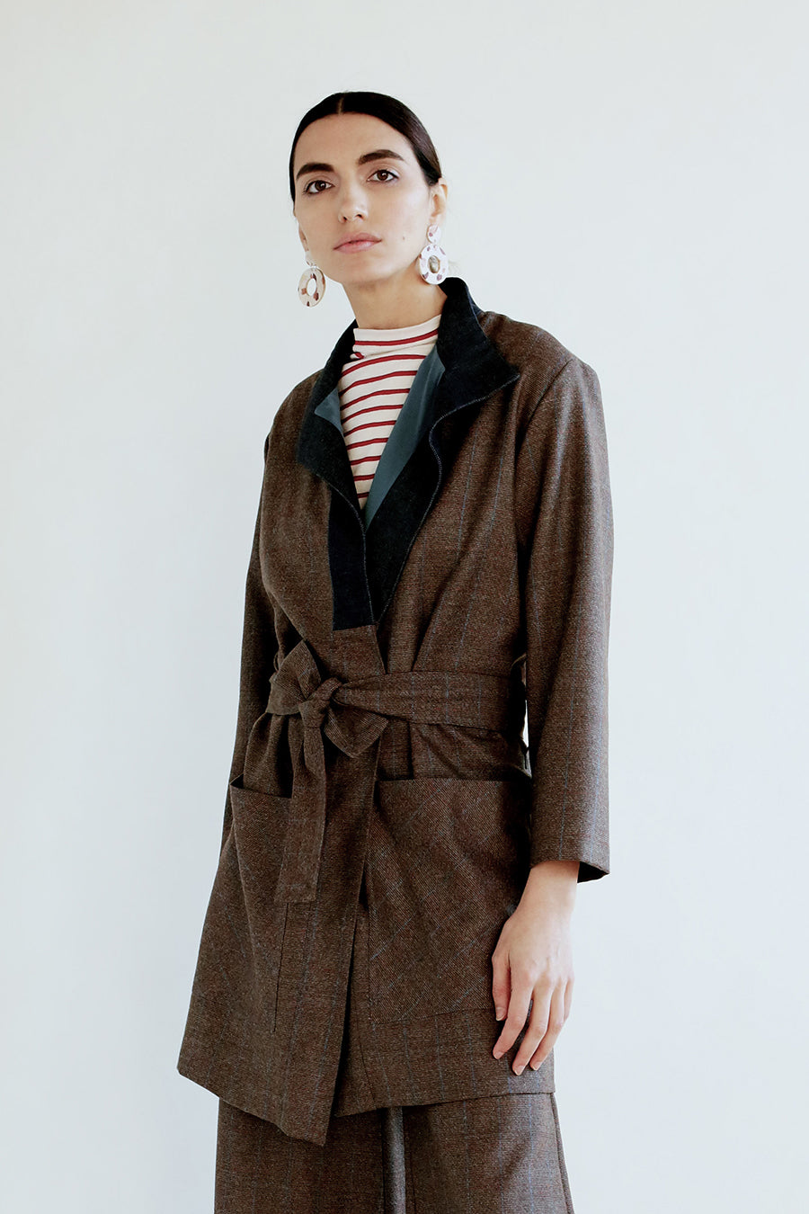 Louise Blazer in Reclaimed Wool Check