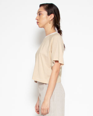 Melody Crop Tee in Sand Stripe Bamboo-Organic Cotton