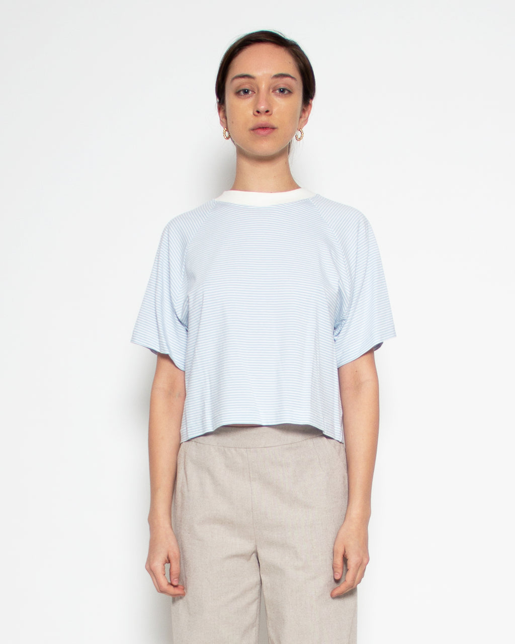 Melody Crop Tee in Sky Stripe Bamboo-Organic Cotton
