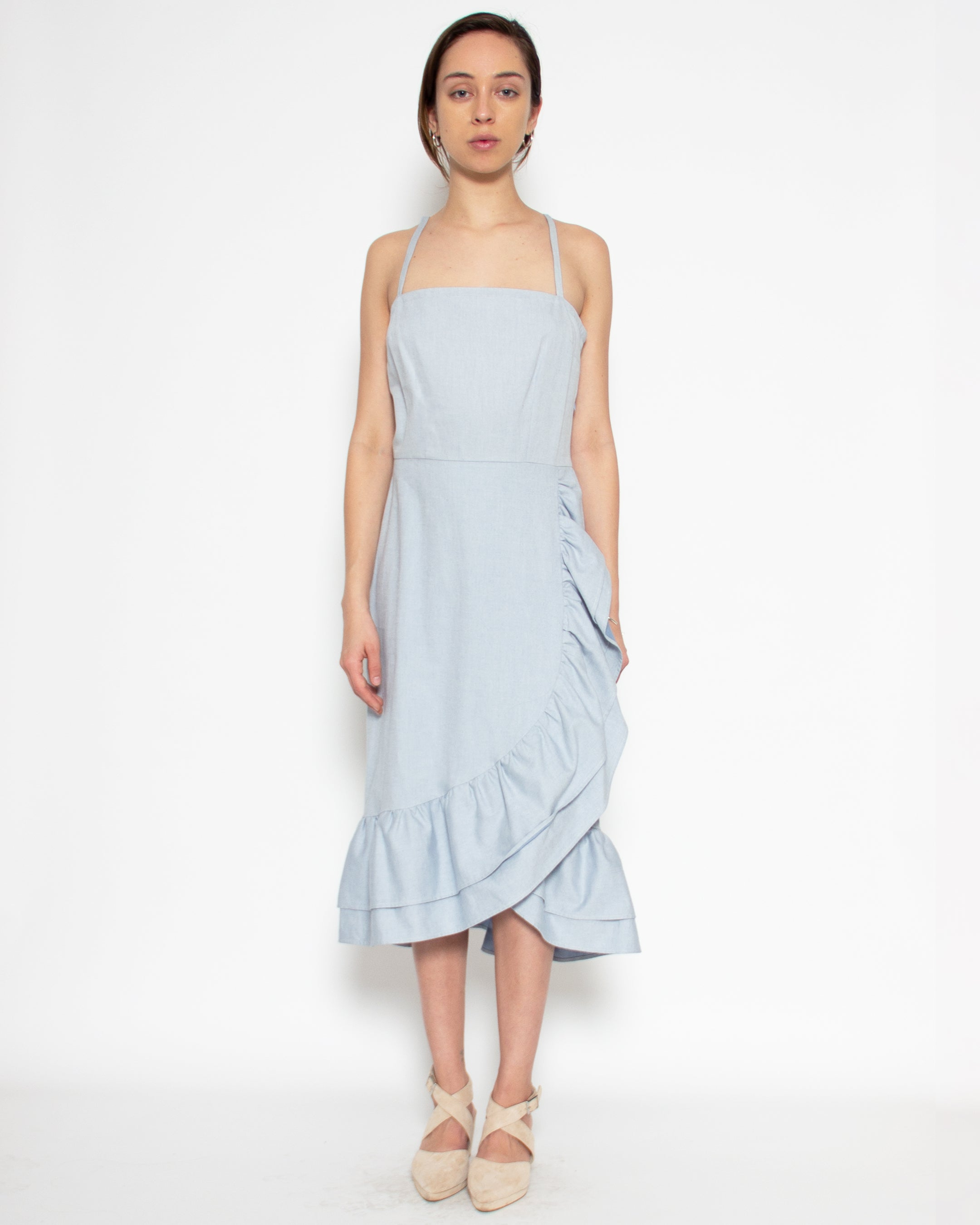 Narella Dress in Sky Organic Cotton Twill