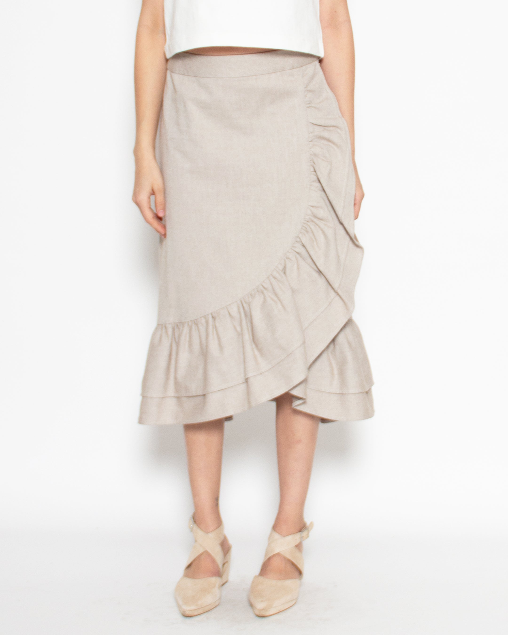 Narella Skirt in Oat Organic Cotton Twill