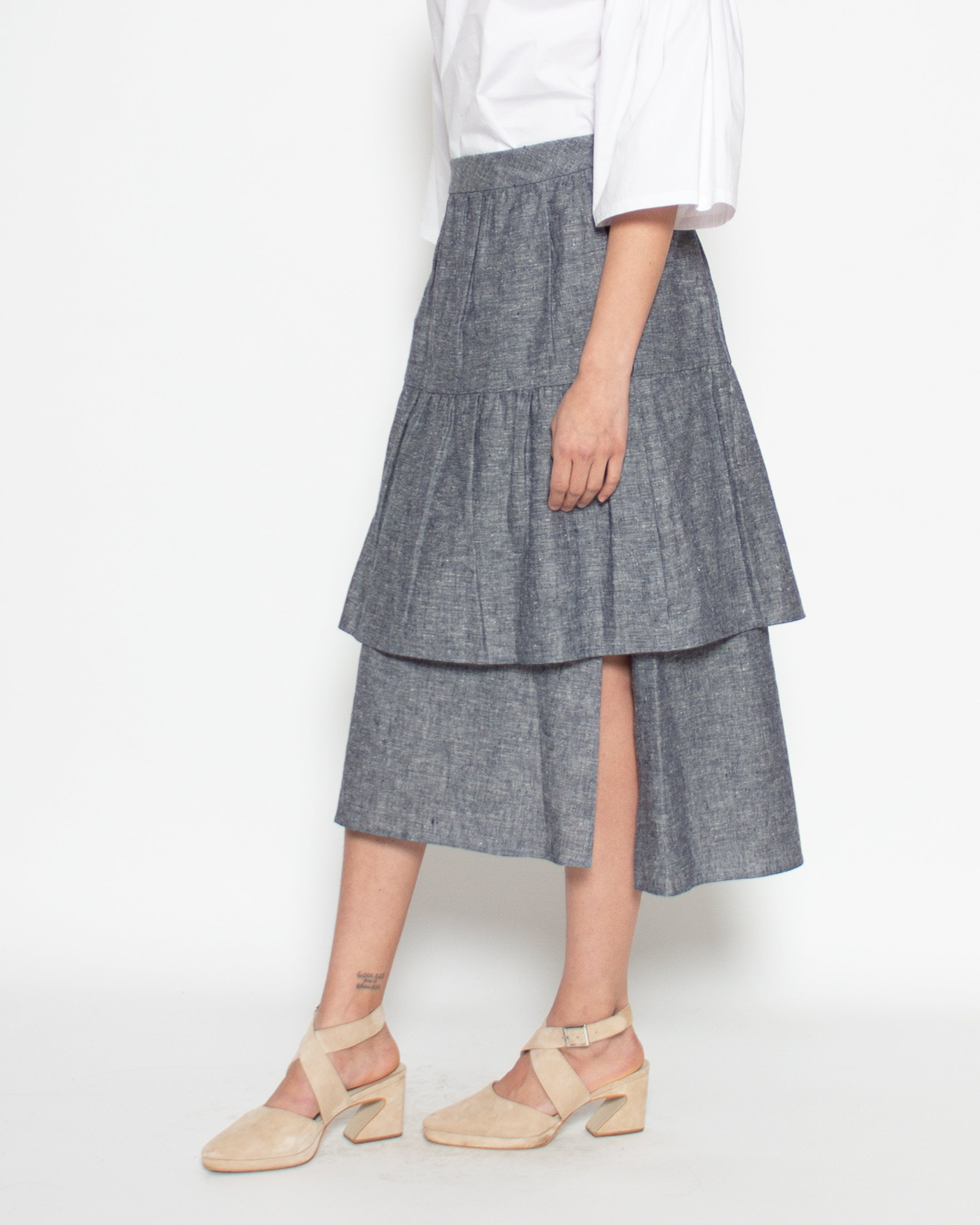 Phedra Skirt in Steel Hemp-Organic Cotton