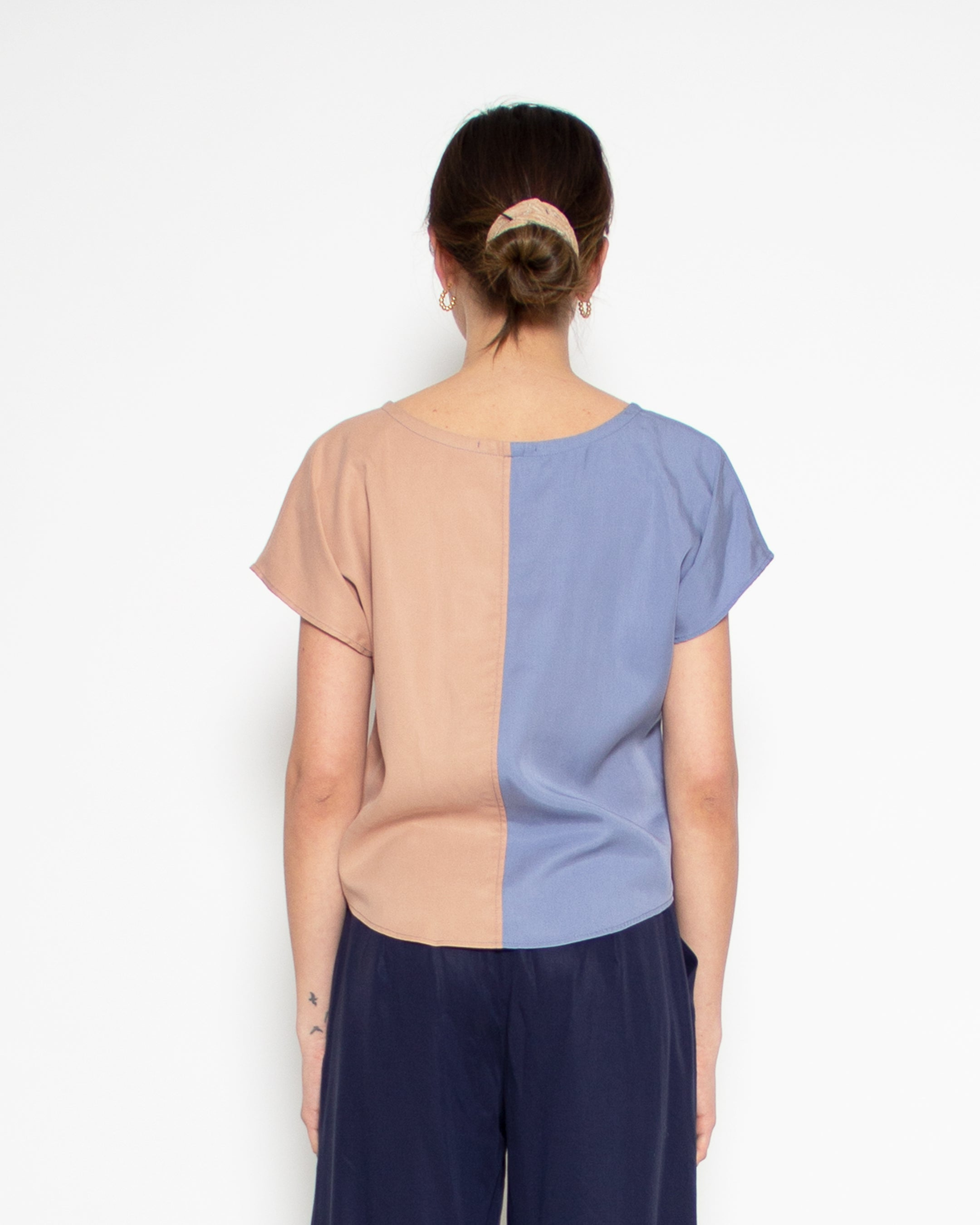 Sonia Contrast Top in Cornflower and Clay