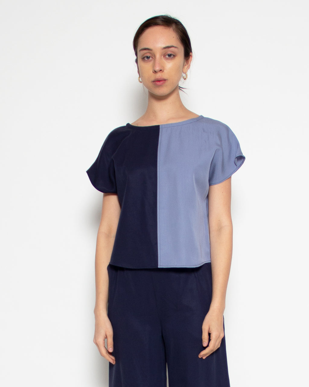 Sonia Contrast Top in Navy and Cornflower