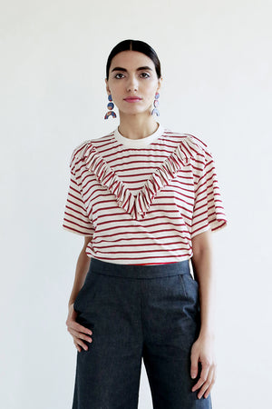 Striped Ruffle Agnes Top