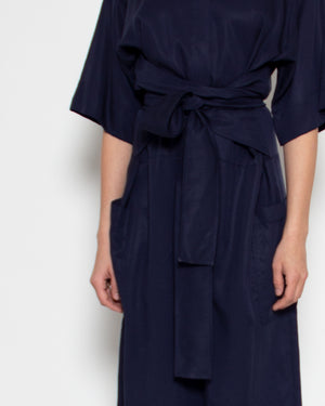 Tied Jumpsuit in Navy Tencel