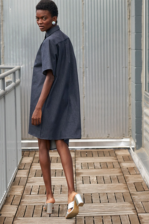 Dive Dress in Denim Organic Cotton